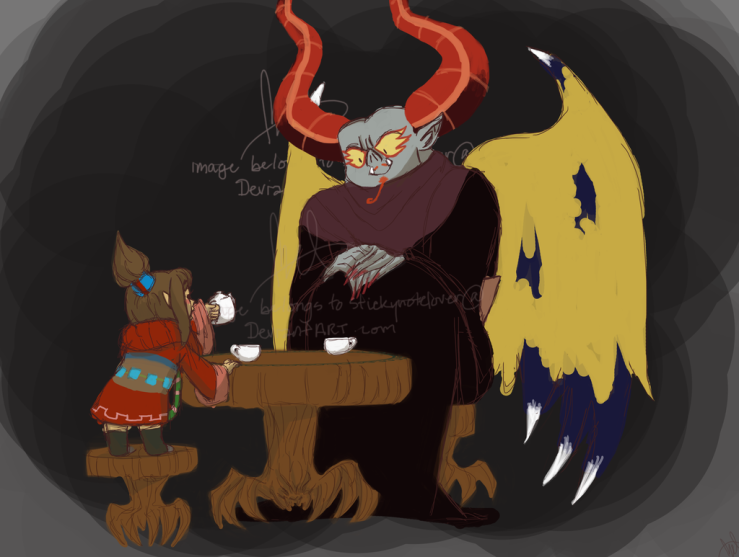 Tea Party with Uncle Bats by Stickynotelover