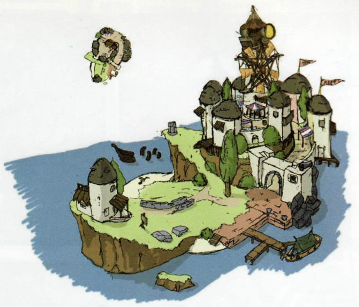 Windfall Island Concept Art from Hyrule Historia